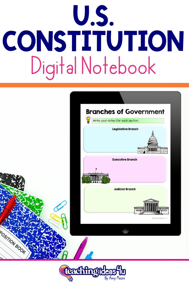 U S Constitution Digital Interactive Notebook For Us History Interactive Notebooks Digital Interactive Notebook History Interactive Notebook