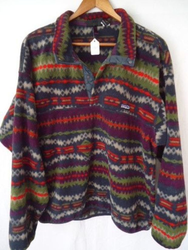 Vintage patagonia usa retro snap t tribal aztec fleece jacket ...