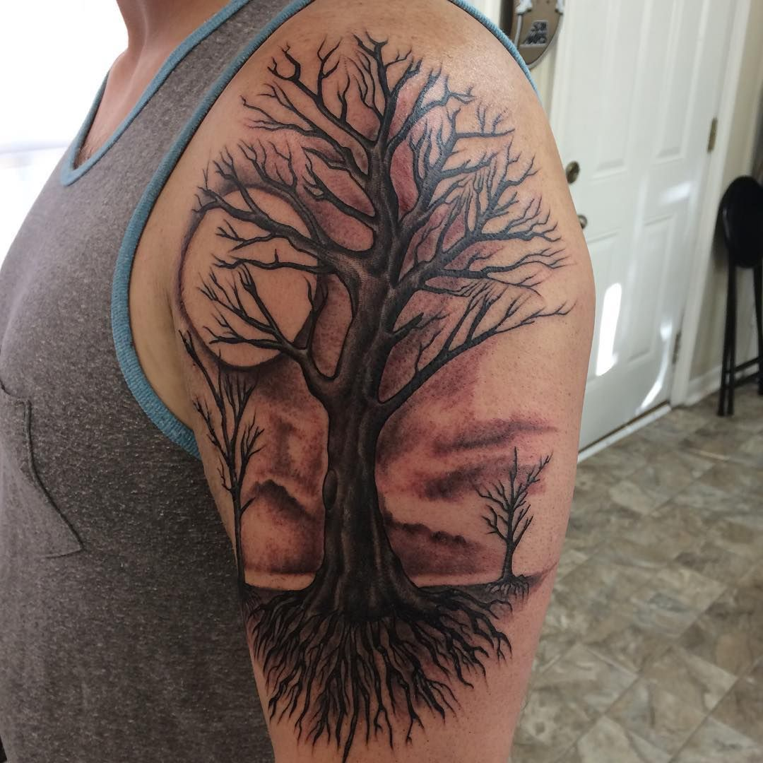 Image result for tree tattoo sleeve Tree sleeve tattoo
