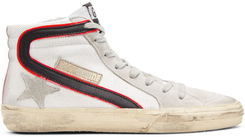 100da343808 Golden Goose - White Mesh Slide High-Top Sneakers | Shoes | Sneakers ...