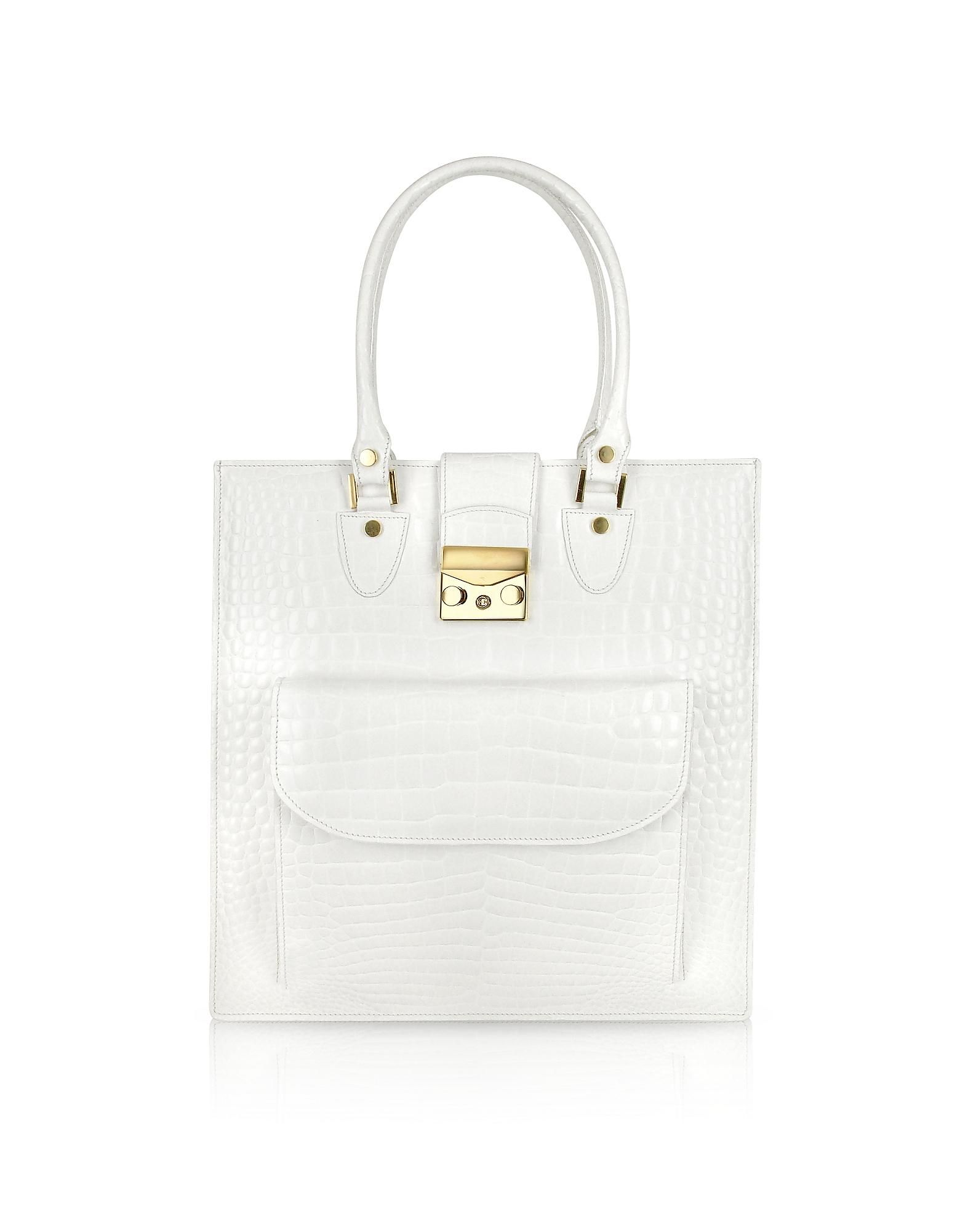 White Croco Stamped Leather Tote Bag White L A P A