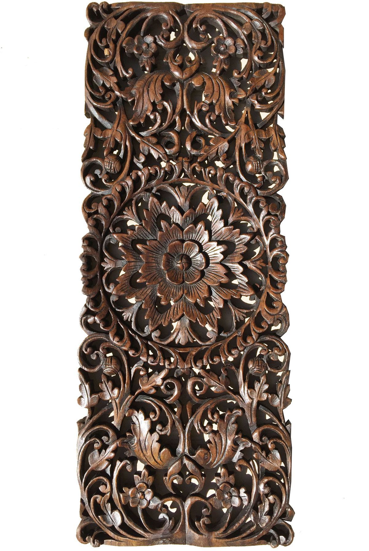 Floral tropical carved wood wall panel asian wall art home decor floral tropical carved wood wall panel asian wall art home decor large wood wall plaque 355x135 extra thick available in dark brown and black wash amipublicfo Images