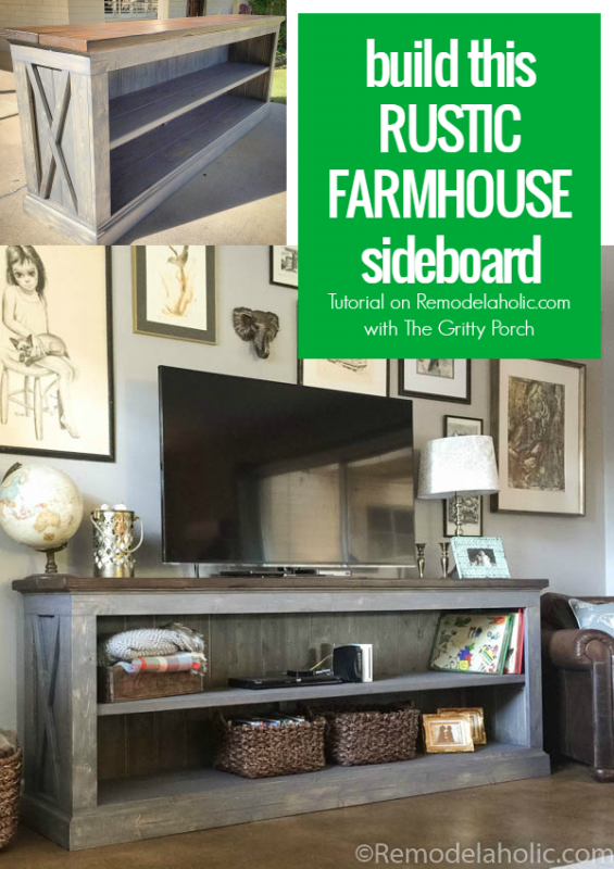 build this rustic x farmhouse sideboard and tv console with the gritty porch and remodelaholic. Black Bedroom Furniture Sets. Home Design Ideas