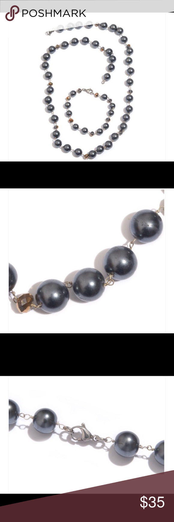 Simulated Gray Pearl set Simulated Gray Pearl, Glass Silvertone Bracelet (7.5 in) and Necklace (24.00 In) Glass Pearl Round Beads Jewelry Necklaces