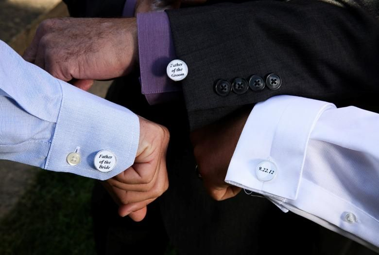 Men can also incorporate special elements into a wedding celebration, these DIY cufflinks will be a great keepsake.