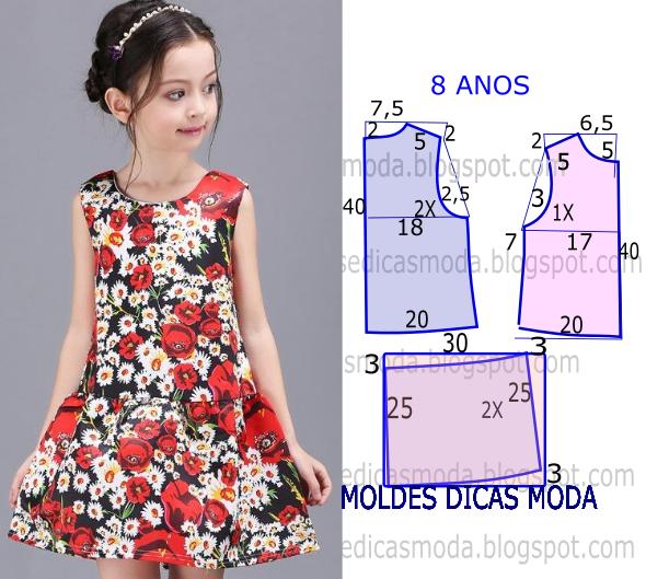 16798f727 A publicação de hoje contempla o molde vestido de flores 8 anos para  meninas. A ilustração do molde não tem valor de costura tem que ser  acrescentado.