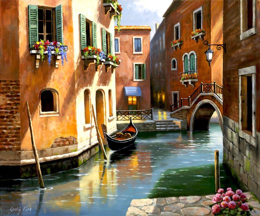 Tarde De Venecia Por Sung Kim 39441 Paisajes Para Pintar Arte