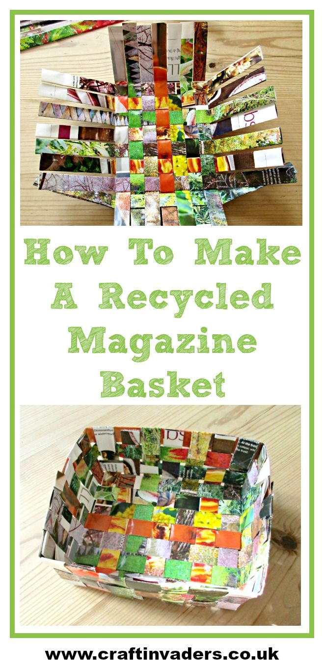 How To Make An Easy Recycled Magazine Basket #recycledcrafts