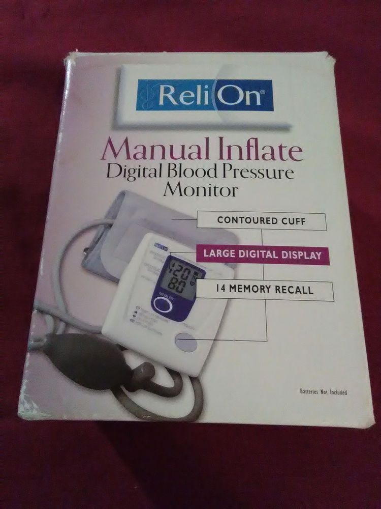 Details About Reli On Relion Manual Inflate Digital Blood Pressure