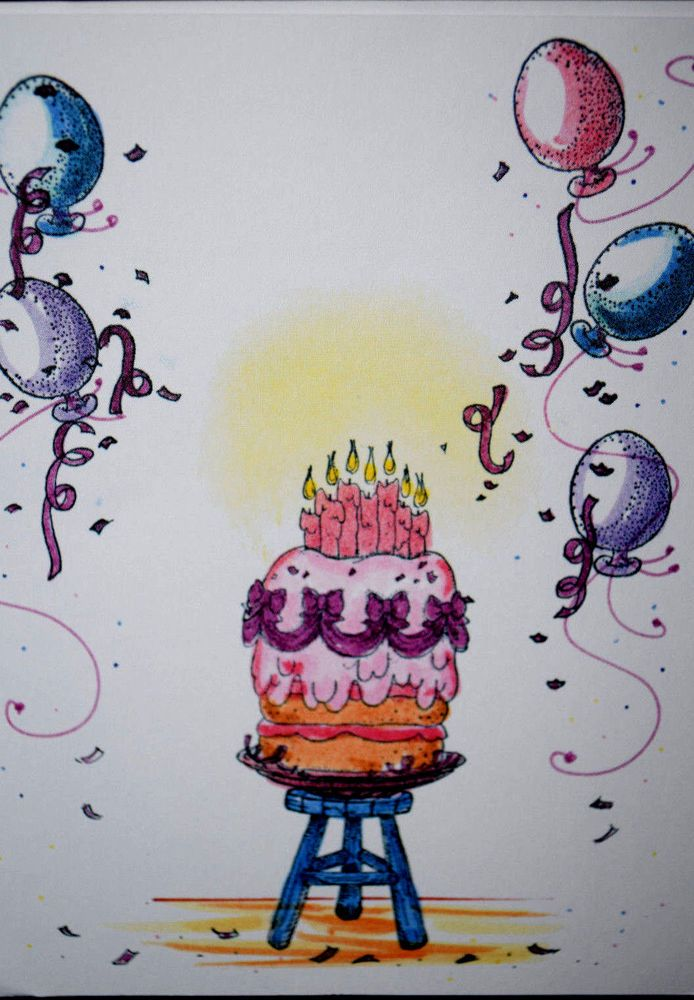 Balloon. Retired. Sells for 4.99.Sold separately are the stool and the birthday cake.  Made by: Make an Impressions Rubber Stamps. You can purchase these  in my ebay store: Pat's Rubber Stamps & Scrapbooks, Click on the picture & see the listing , or call me 423-357-4334 with order, We take PayPal. You get FREE SHIPPING ON PHONE ORDERS of $30.00 or more.  If it says sold I have more. Use my search engine to find the items you are interested in my store.