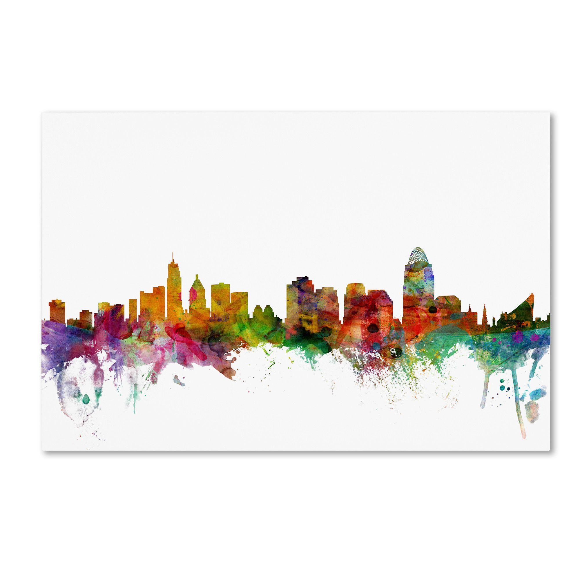 Cincinnati Ohio Skyline by Michael Tompsett Graphic Art on Wrapped Canvas
