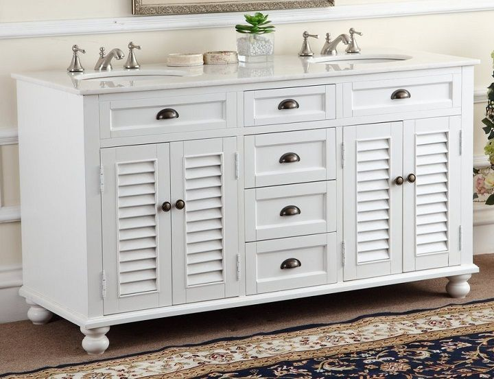 Chans Furniture GD-21333 Glennville 60 Inch White Bathroom Double