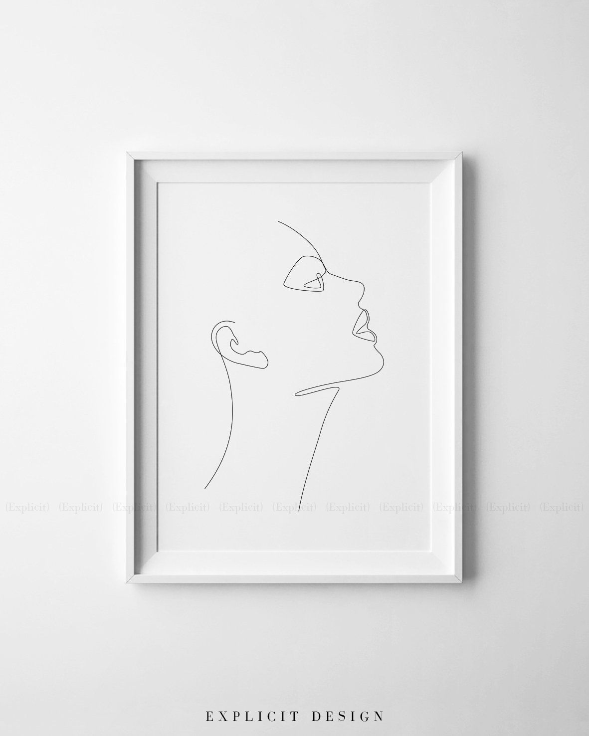Printable Girl Face Profile Sketch One Line Abstract Drawing Print Feminist Artwork Single Lined Woman Post Abstract Drawings Face Profile Face Line Drawing