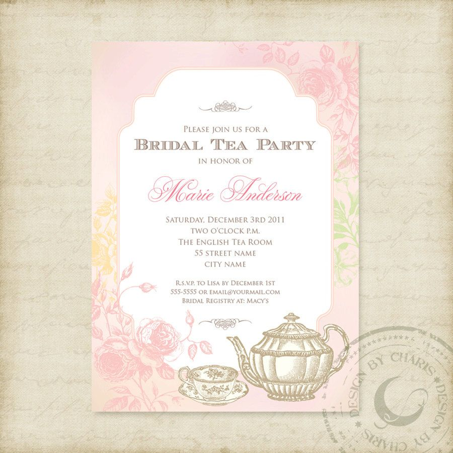 Shabby Chic Bridal Tea Party - Printable Invitation. $14.99, via ...