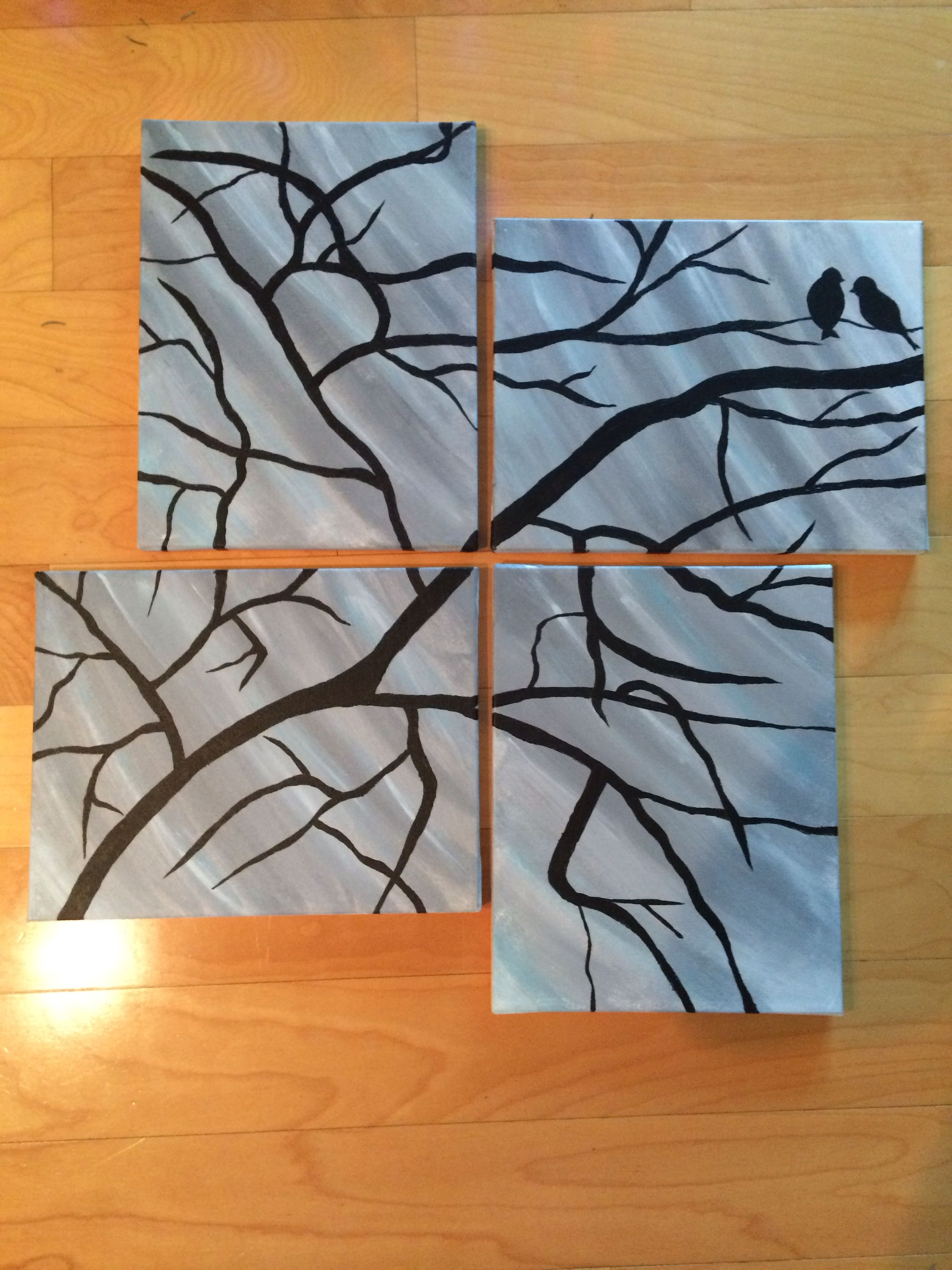 4 Canvas Painting Birds On A Tree