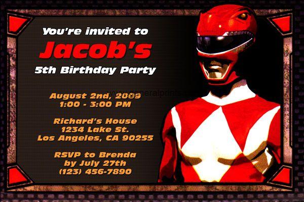 Power Rangers Birthday Invitations Ideas For Frey