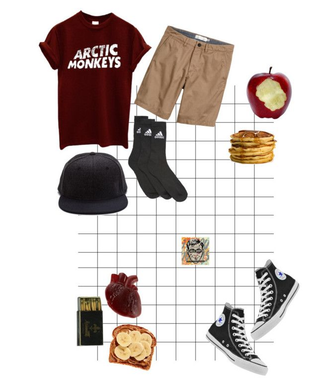"""""""kinda my ootd"""" by geeway-is-emo-god ❤ liked on Polyvore featuring H&M, Converse and adidas"""