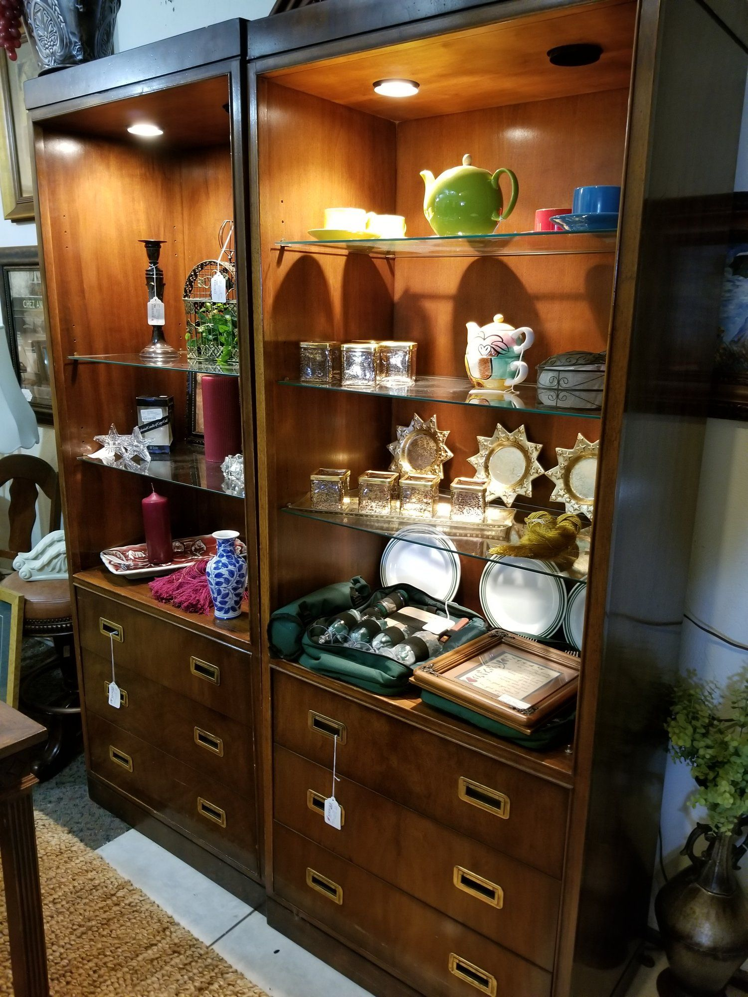 Lexington Wall Unit Consignment Furniture Storage Drawers Glass Shelves