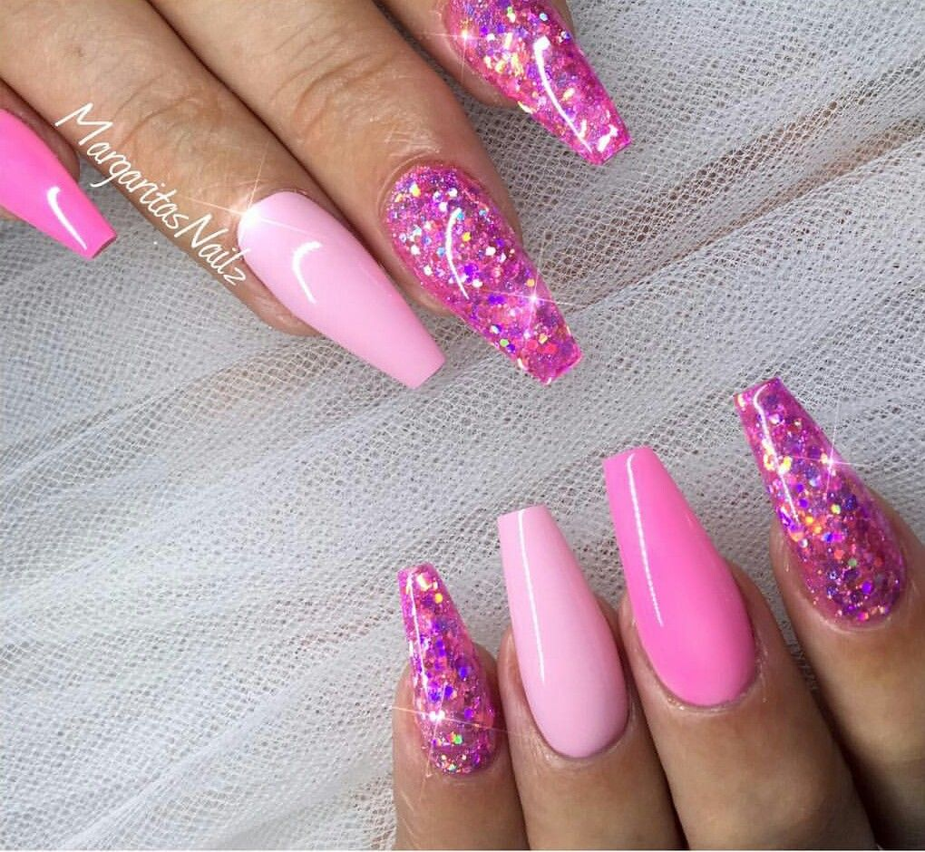 Pink Glitter Barbie Nails Pink Glitter Nails Coffin Shape Nails Barbie Pink Nails