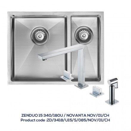 ZENDUO 15 340/180U 1.5 Bowl Sink with NOVANTA Chrome Tap with Hand Spray