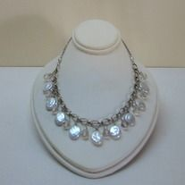 Handmade coin pearl and crystal necklace with silver chain.