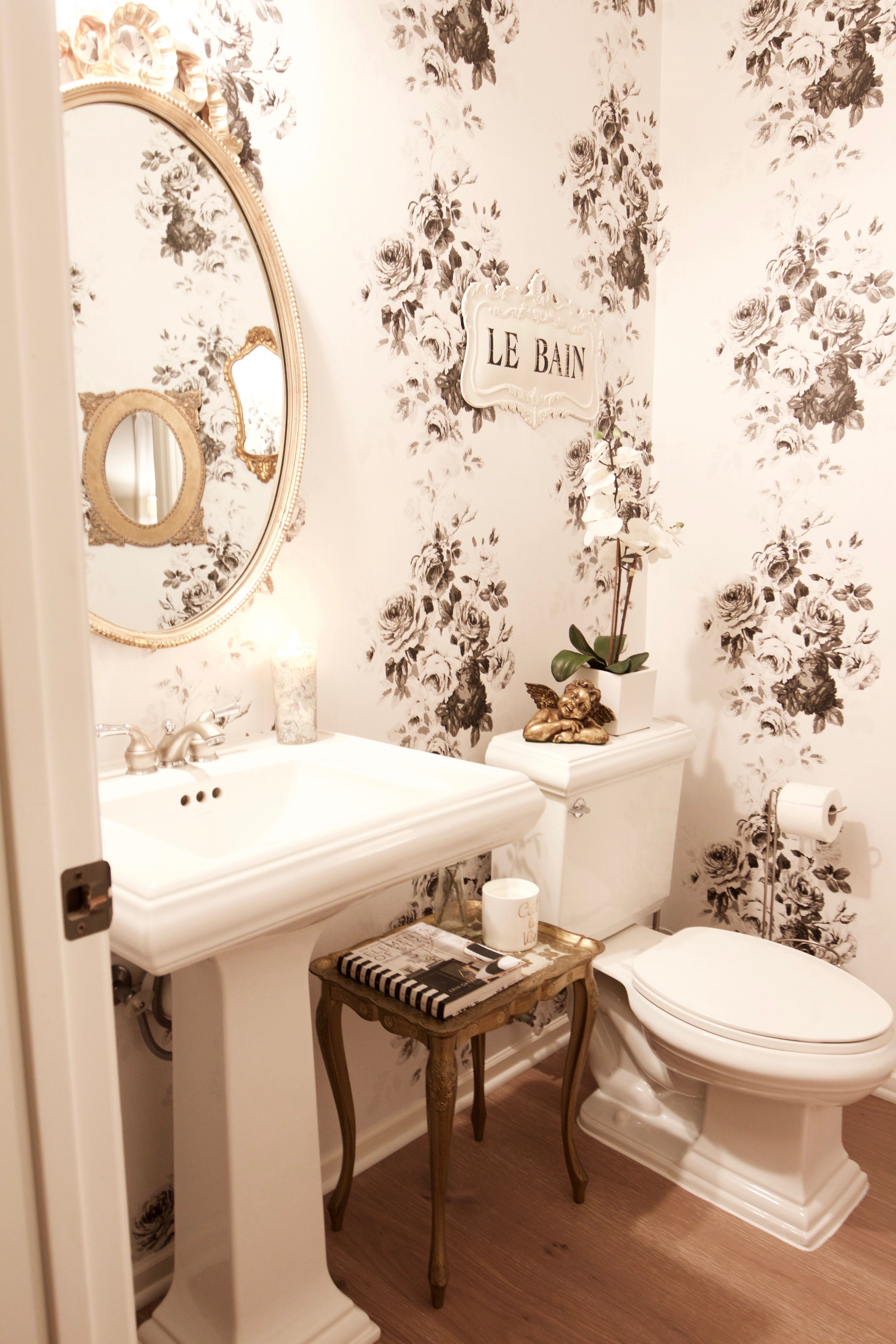 Vintage Glam Powder Room Makeover French Country Bathroom Home