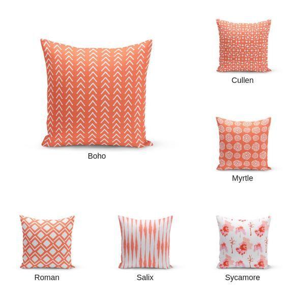 Astounding Coral Pillow Covers Modern Pillow Covers Couch Pillow Inzonedesignstudio Interior Chair Design Inzonedesignstudiocom