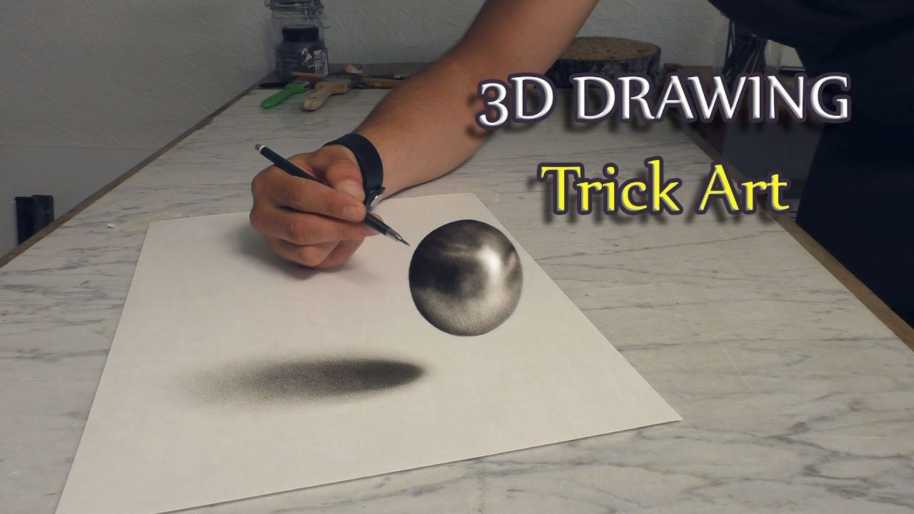 realistische zeichnung einer kugel als optische t uschung zeichnen 3d drawing malerei. Black Bedroom Furniture Sets. Home Design Ideas