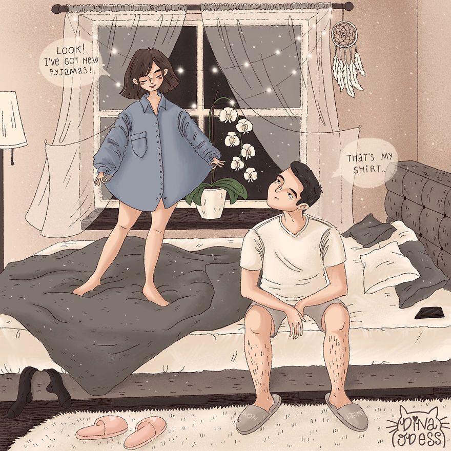 15 ilustrações mostrando as alegrias diárias da vida de casal