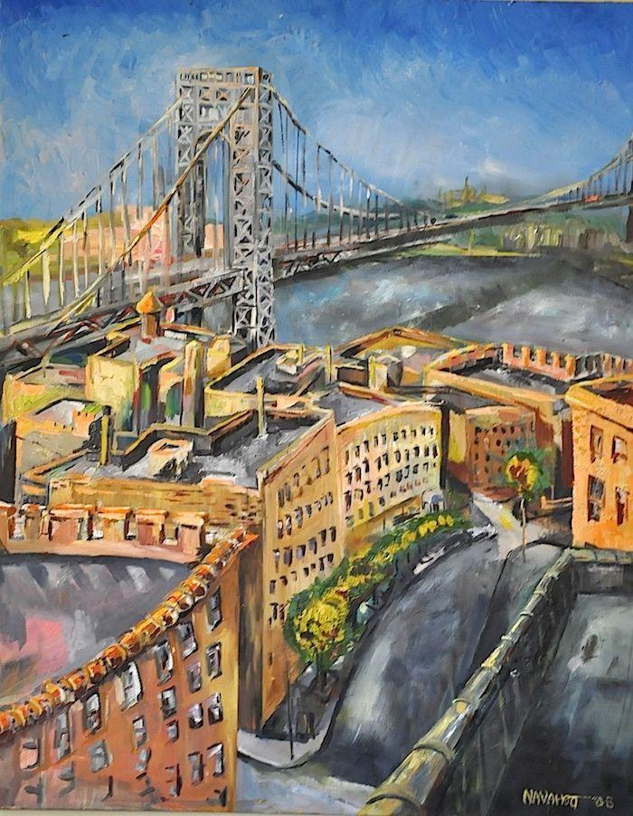 Gwb From The Rooftops George Washington Bridge Bridge Painting Nyc Skyline