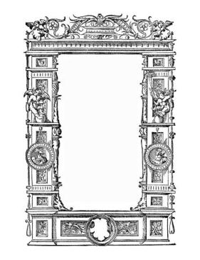 This architectural border incorporates classical columns