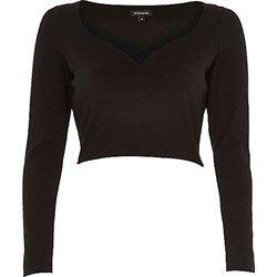 Black long sleeve V-neck crop top