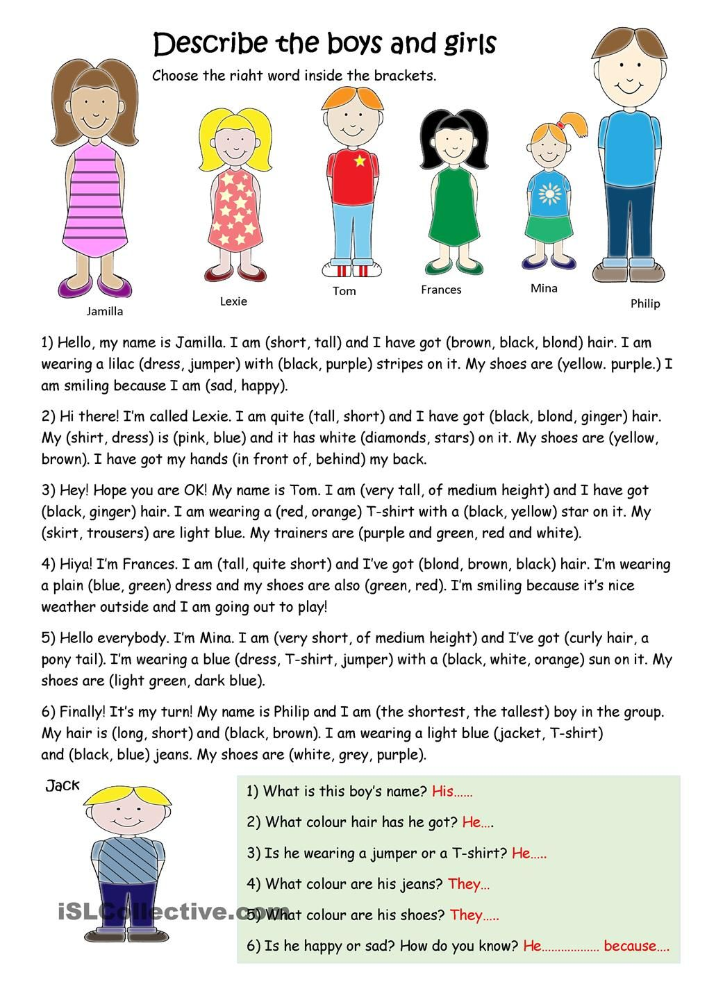 describe the boys and girls esl worksheets of the day worksheets