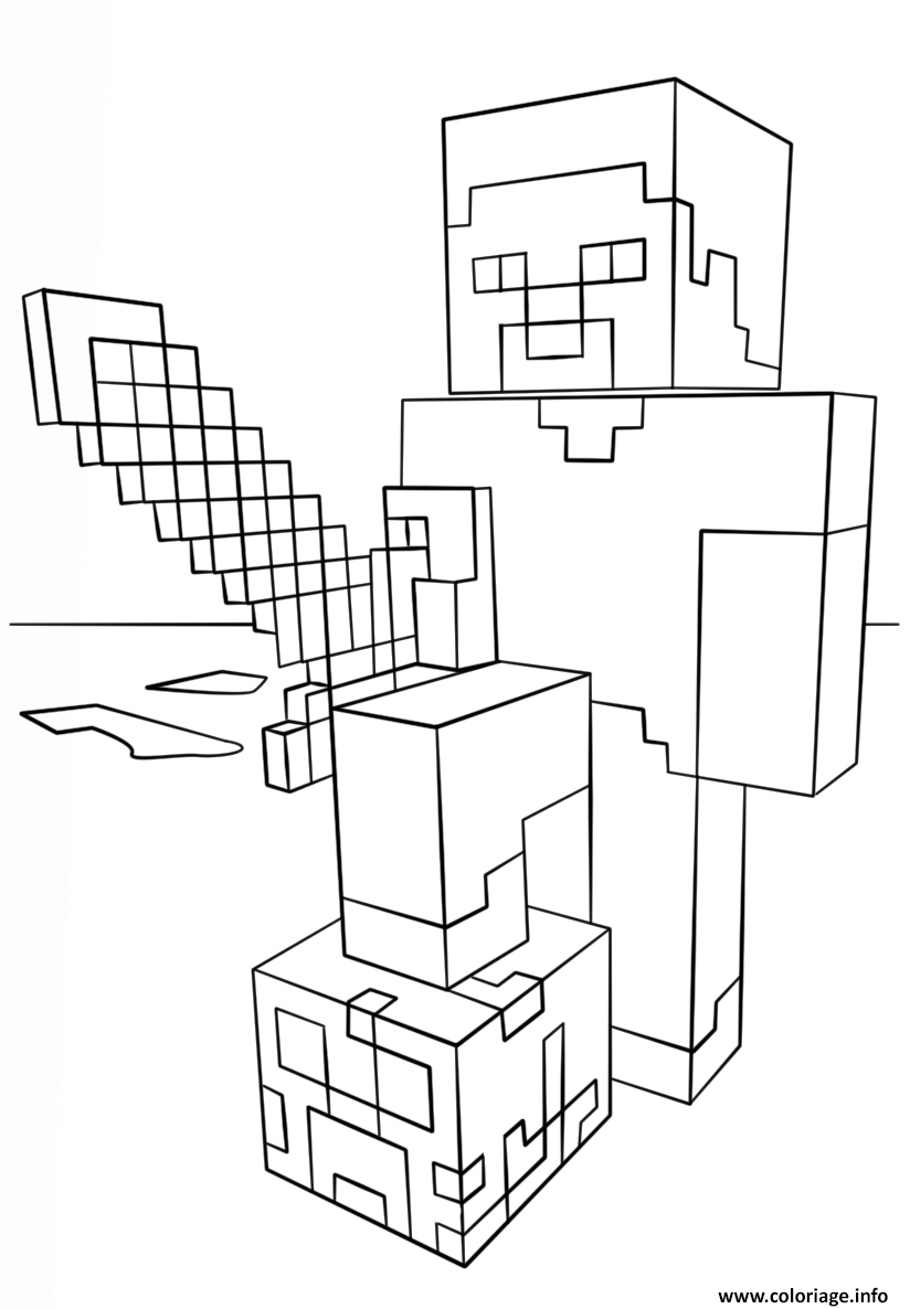 Coloriage Minecraft Steve With Diamond Sword A Imprimer En 2020 Coloriage Minecraft Coloriage Minecraft Imprimable