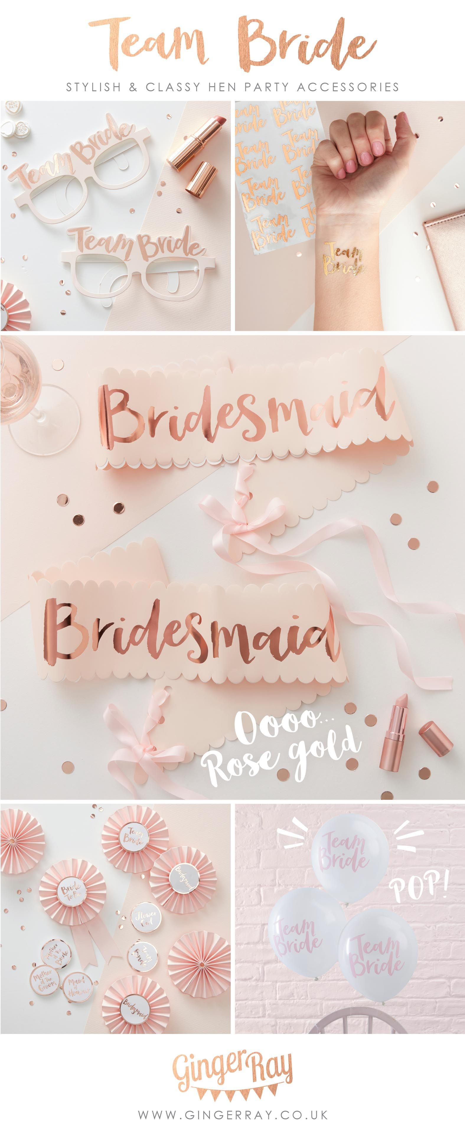 HEN PARTY Rose Gold TEAM BRIDE GLASSES x 8 Fun and Quirky Classy Party Accessory
