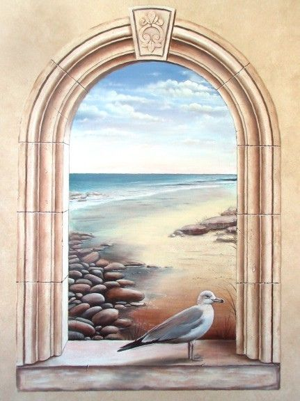 arched window seascape murals frescoes and trompe l 39 oeil pinterest illusionsmalerei. Black Bedroom Furniture Sets. Home Design Ideas