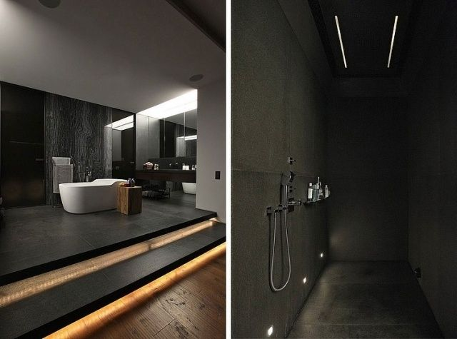 Bad Dunkel badezimmer gestaltung dunkle farben fliesen dusche bathroom