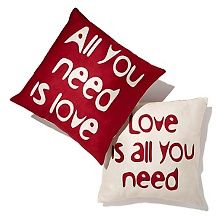 Lyric Culture All You Need Is Love Set of 2 Pillows