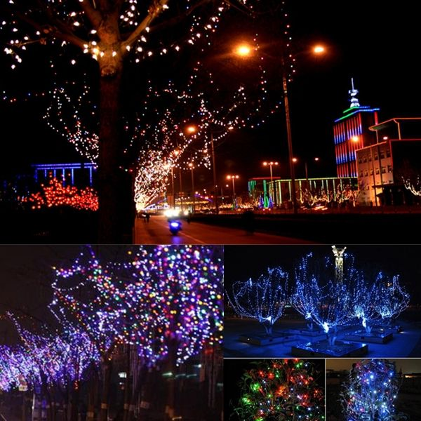 200 LED Solar Powered Fairy String Light Garden Party Decor - solar christmas decorations