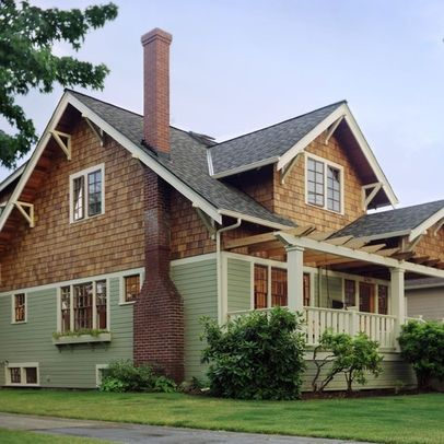Cedar Shingle Siding With Red Brick Craftsman Style Homes Google Search Craftsman Bungalow Exterior Craftsman House Designs Bungalow Exterior
