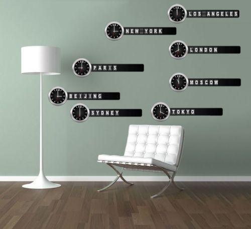 Time Zone Clocks Wall Sticker Large