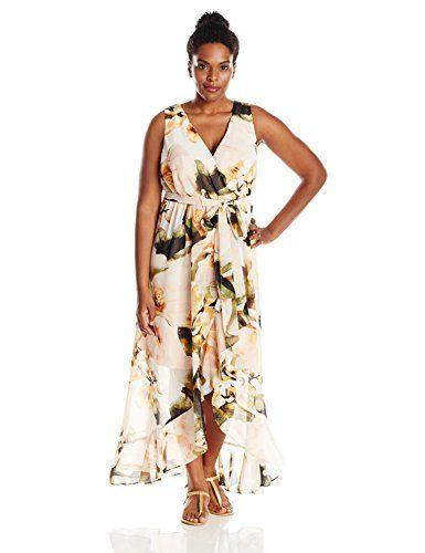22f4c221d15a Sangria Women's Plus-Size Floral Print Chiffon Maxi, Honey Suckle, 14  Sangria http
