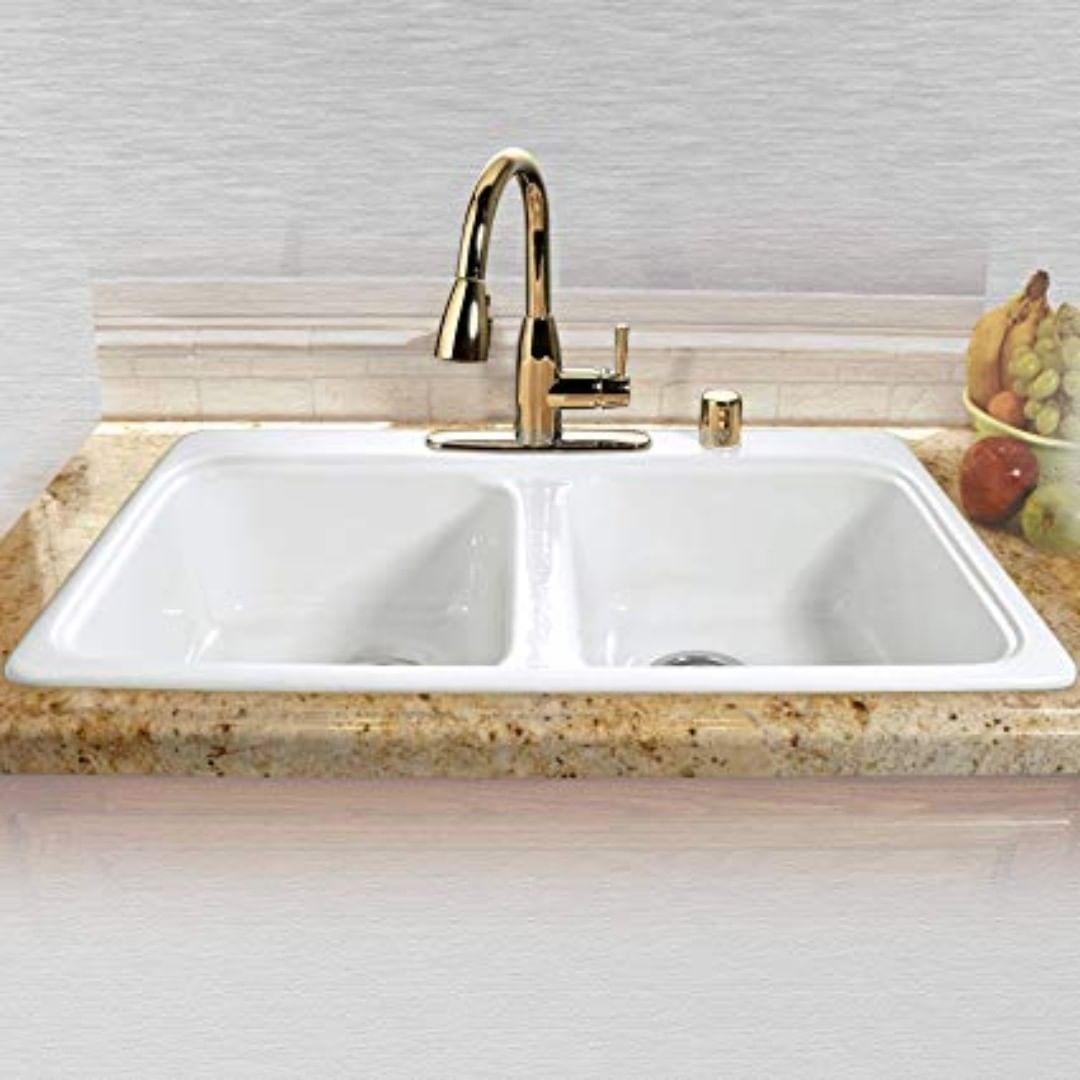 Double Basin Drop In Cast Iron Kitchen Sink Kitchensink