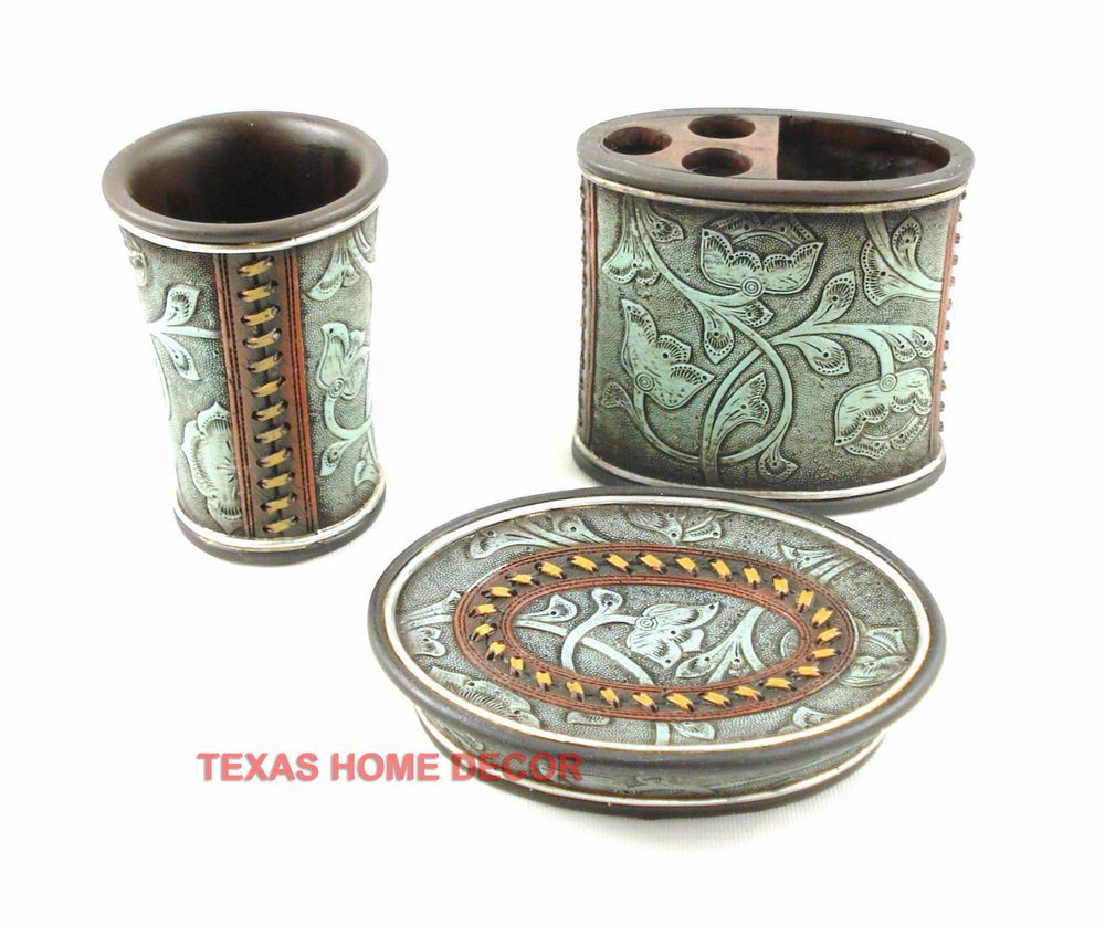 Western Turquoise Tooled Leather Look Bathroom Accessories