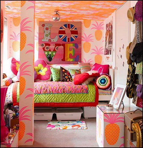 1970s teenage girl bedroom | hippie+bedroom+decorating+ideas-funky+ ...