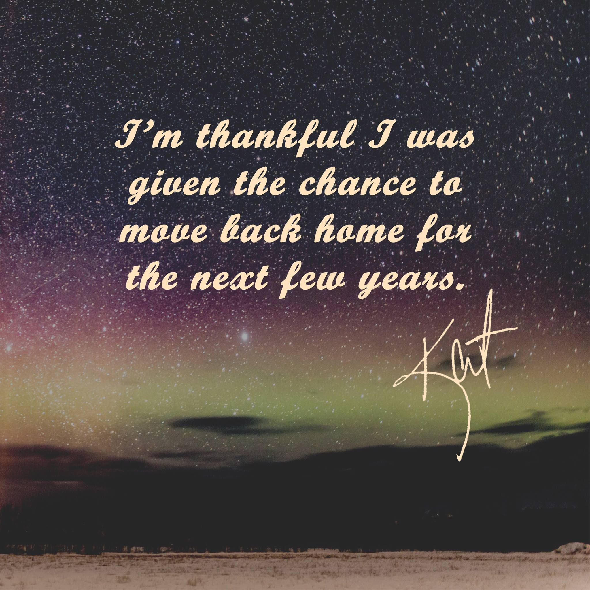 I am thankful i was given the chance to move back home for