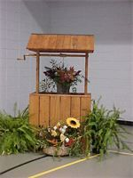 Fall wedding decor - Arrangement by Jo Wray...wishing well by Richard Wray