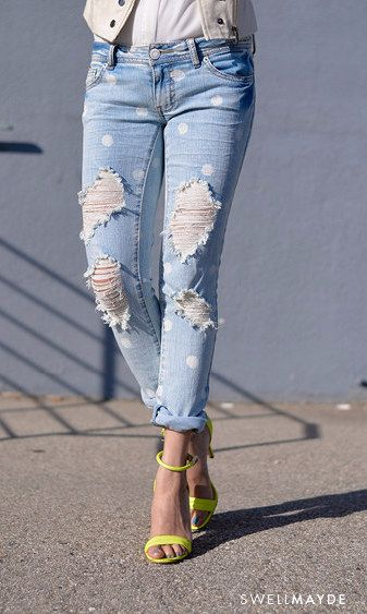 Spruce up any pair of blue jeans with a simple polka-dot pattern.   30 Hella Easy Ways To Seriously Transform Your Old Jeans