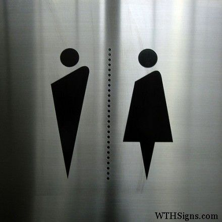 Bathroom Signage Stylized Pictograms Lied Vinyl On Brushed Stainless Steel