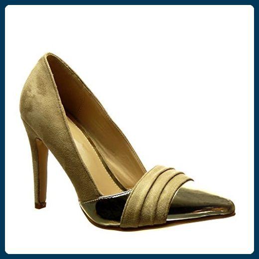 Angkorly Damen Schuhe Pumpe - Stiletto - Sexy - Bi-Material - Golden Stiletto High Heel 10 cm - Schwarz C61-02 T 40 MNt5O